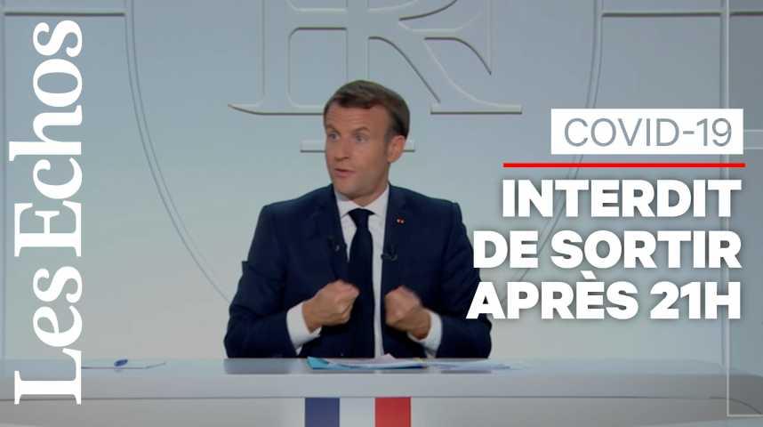 Illustration pour la vidéo Emmanuel Macron décrète le couvre-feu dès 21h dans 8 métropoles et l'Ile de France