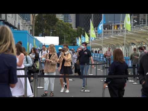 Fans arrive for delayed Australian Open tennis Grand Slam
