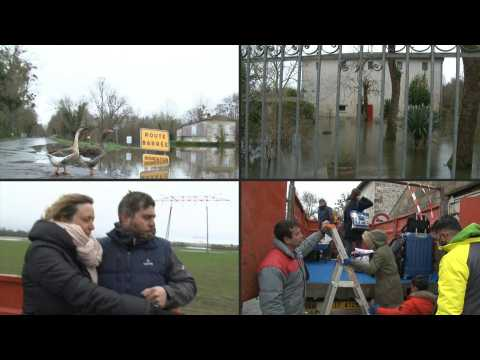 Flooded French village becomes an island