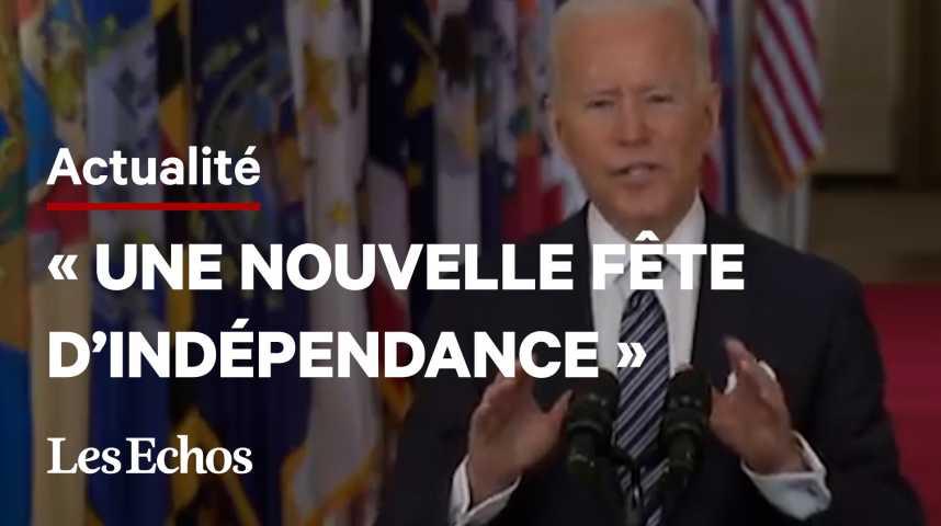 Illustration pour la vidéo Covid : Joe Biden prévoit un retour à la normale pour le 4 juillet