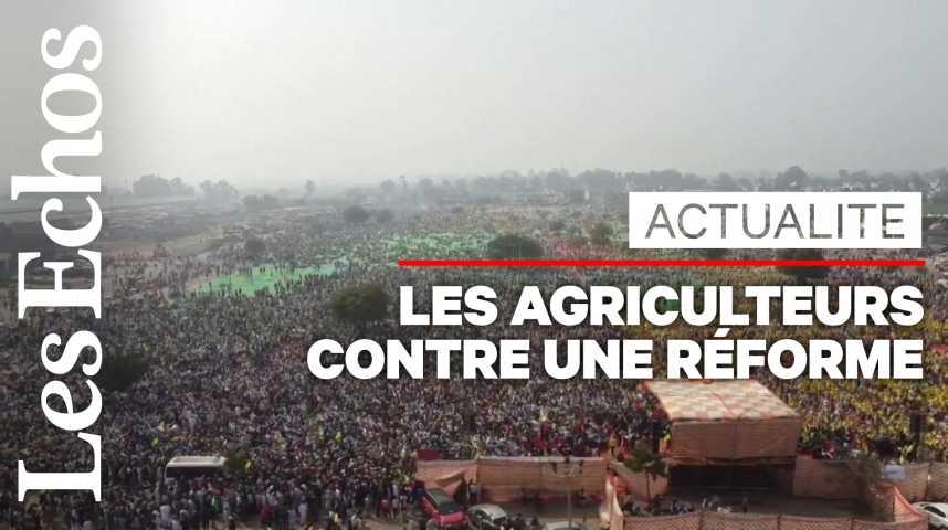 Illustration pour la vidéo En Inde, plus de 100 000 manifestants contre une réforme agricole
