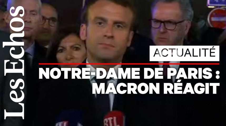 Illustration pour la vidéo Emmanuel Macron : « Nous rebâtirons Notre-Dame de Paris »
