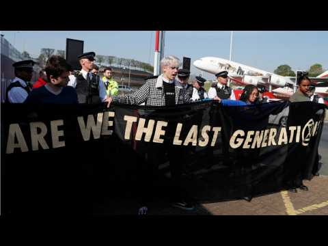 Young Climate Activists Gather At Heathrow Airport In London
