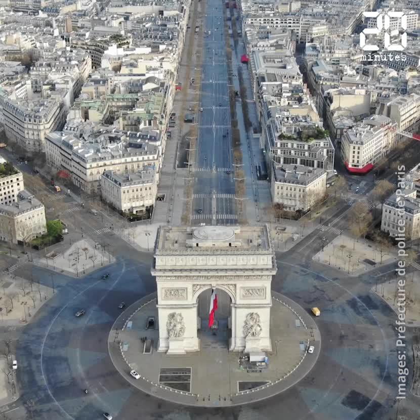 Coronavirus: Les avenues désertes de Paris vues du ciel grâce à un drone