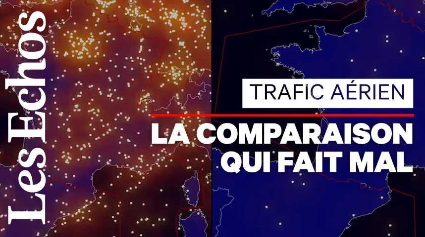 Illustration pour la vidéo L'impressionnante chute du trafic aérien au-dessus de la France