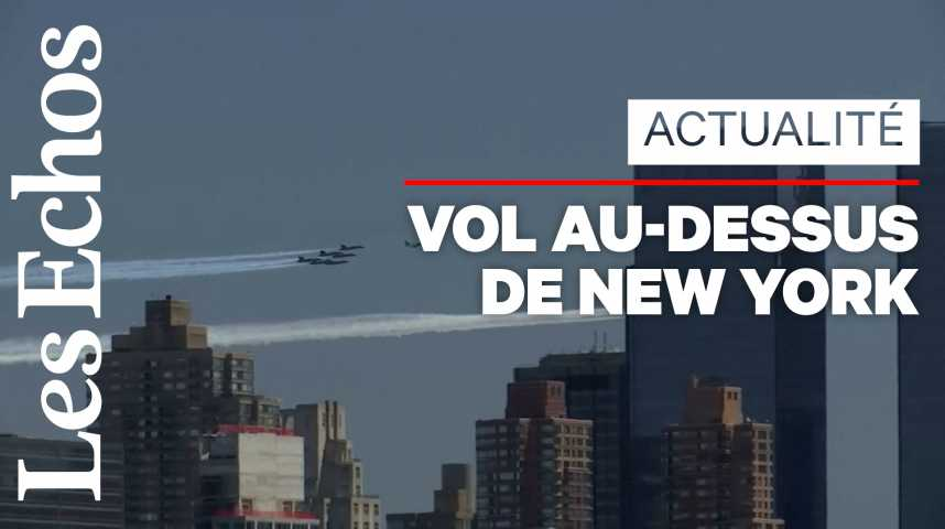 Illustration pour la vidéo Deux escadrons survolent New York en hommage aux soignants