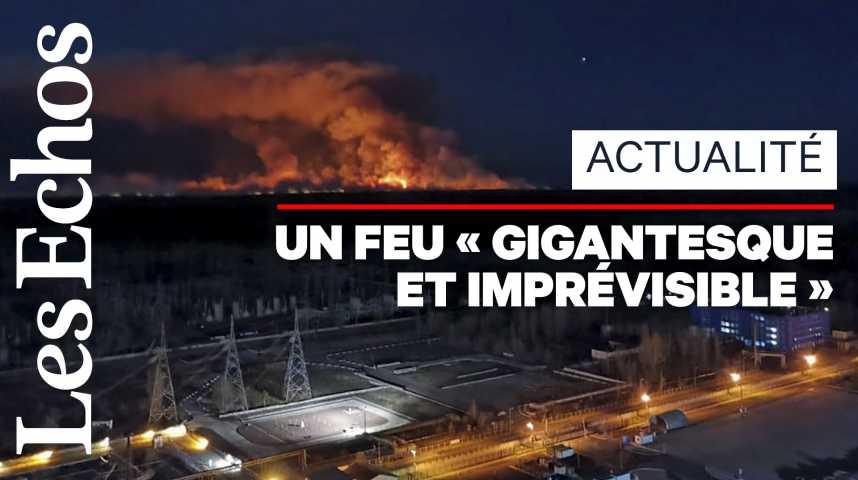 Illustration pour la vidéo Un important feu de forêt ravage la zone de Tchernobyl