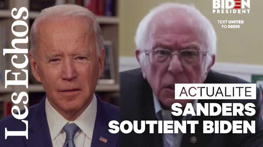 Illustration pour la vidéo Bernie Sanders apporte son soutien à Joe Biden