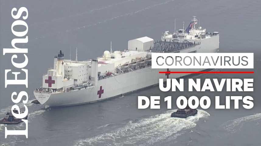 Illustration pour la vidéo A New York, un navire militaire pour aider les hôpitaux