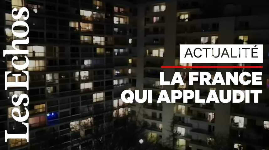 Illustration pour la vidéo De leurs balcons, des Français applaudissent le personnel soignant