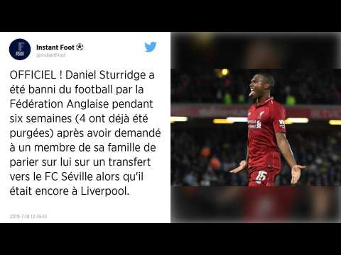 Premier League : Daniel Sturridge suspendu six semaines pour des paris illicites