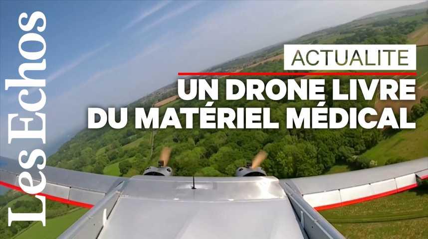 Illustration pour la vidéo Un drone livre du matériel médical au Royaume-Uni
