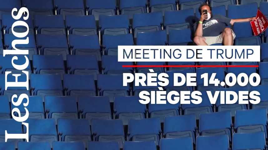 Illustration pour la vidéo Salle à moitié vide pour le 1er meeting de campagne de Donald Trump