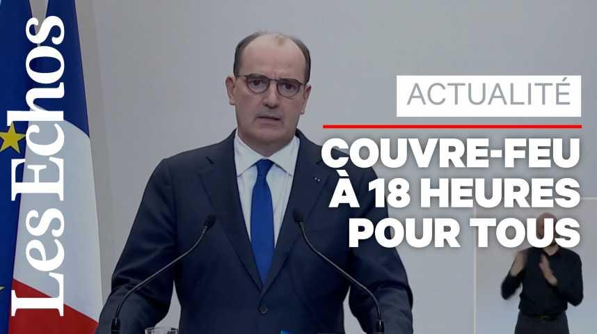 Illustration pour la vidéo Le couvre-feu à 18 heures généralisé à partir de samedi, annonce Jean Castex