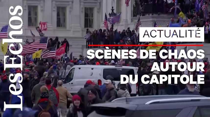 Illustration pour la vidéo Les supporters de Donald Trump envahissent le Congrès