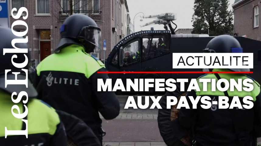 Illustration pour la vidéo Pays-Bas: deuxième nuit d'émeutes après l'imposition d'un couvre-feu