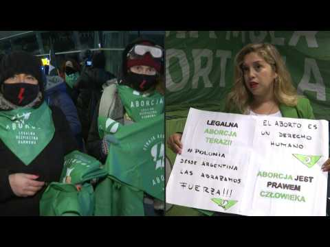 Argentine abortion rights activists show solidarity with Polish women protesting the abortion ban