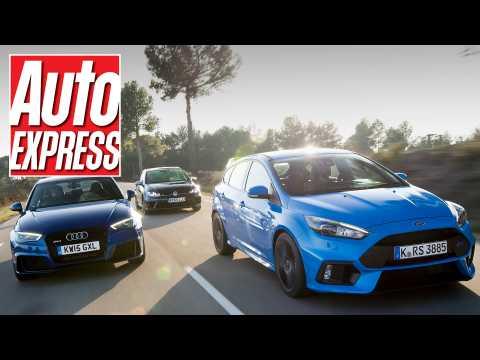 Ford Focus RS vs Audi RS3 vs Volkswagen Golf R review: mega hatch road test!