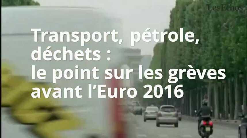 Illustration pour la vidéo Transport, pétrole, déchets : le point sur les grèves avant l'Euro 2016