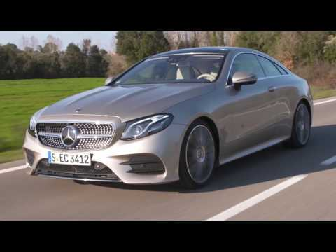 The new Mercedes-Benz E 300 Coupe Driving Video in Aragonite Silver Trailer | AutoMotoTV
