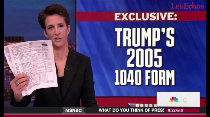 Illustration pour la vidéo Quand une journaliste révèle les impôts de Donald Trump à la télévision