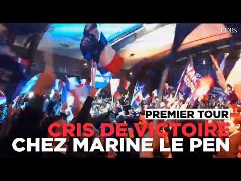 Scènes de liesse chez Marine Le Pen, qualifiée pour le second tour de l'élection présidentielle