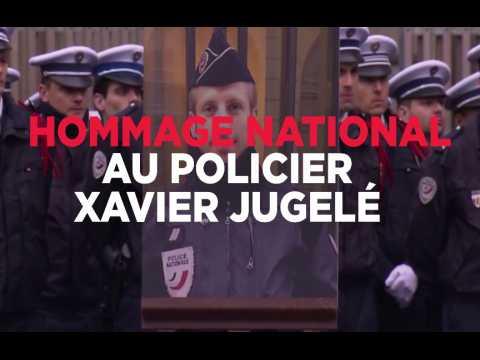 Macron et Le Pen avec Hollande pour l'hommage national au policier tué