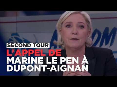 L'appel de Marine Le Pen à Nicolas Dupont-Aignan