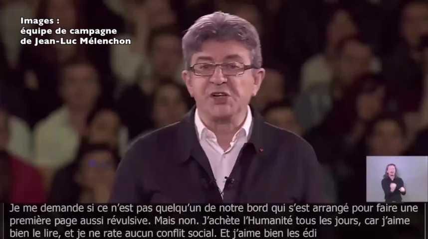 Illustration pour la vidéo Jean-Luc Mélenchon réagit à la une des Echos du mardi 11 avril