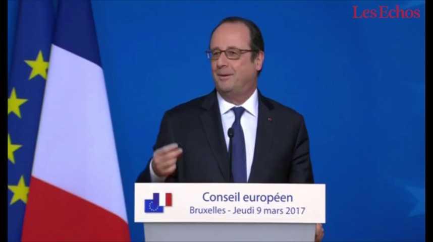 """Illustration pour la vidéo Hollande votera-t-il Hamon ou Macron ? """"Je vous répondrai plus tard"""", ironise-t-il"""