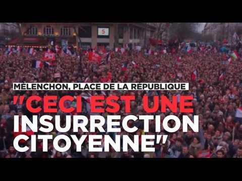 """Jean-Luc Mélenchon à République : """"Ceci est une insurrection citoyenne"""""""