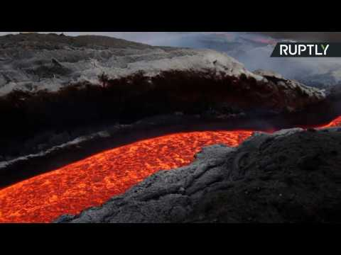 Red Hot Lava Oozes from Mount Etna as Volcano Continues to Erupt