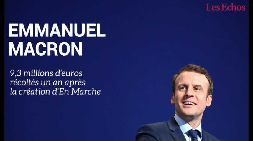 Illustration pour la vidéo Emmanuel Macron : un an après sa création, En Marche a récolté 9,3 millions d'euros