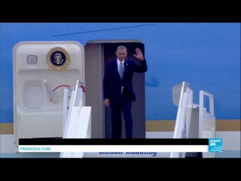 US - Air Force One touches down in Athens, the 1st step of President Obama's final foreign tour