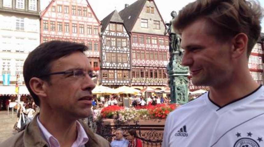 """Illustration pour la vidéo A Francfort, Nils, supporter allemand : """"L'Allemagne a une équipe plutôt moins arrogante que les autres"""""""
