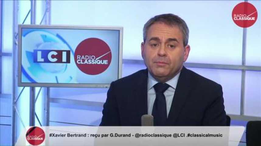 """Illustration pour la vidéo Xavier Bertrand, """"Régionales «Marine Le Pen essaie de profiter de la situation»"""""""