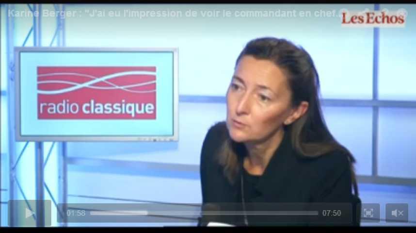 """Illustration pour la vidéo Karine Berger : """"J'ai eu l'impression de voir le commandant en chef hier soir à la télé"""""""