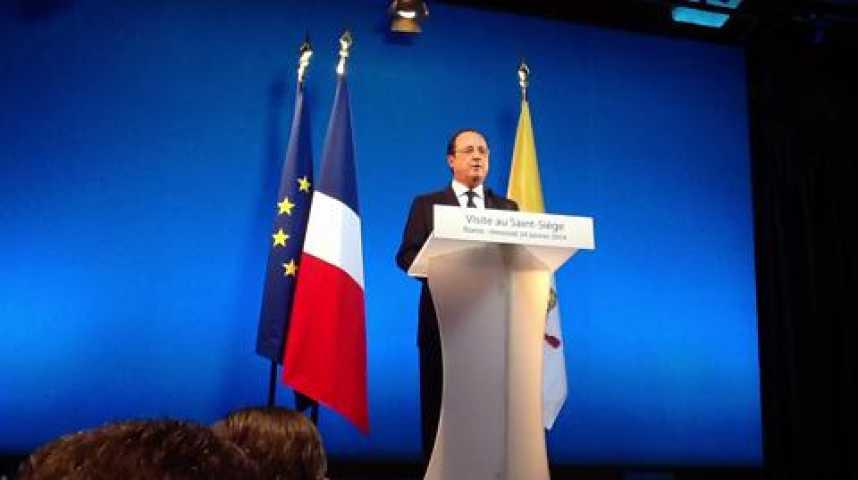 """Illustration pour la vidéo Hollande : La situation en Syrie nous a permis de nous retrouver le Saint-Père et moi-même"""""""