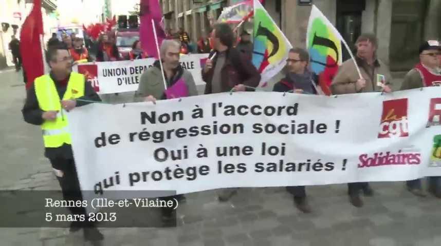 Illustration pour la vidéo Accord sécurisation emploi : la rue, avant le Parlement