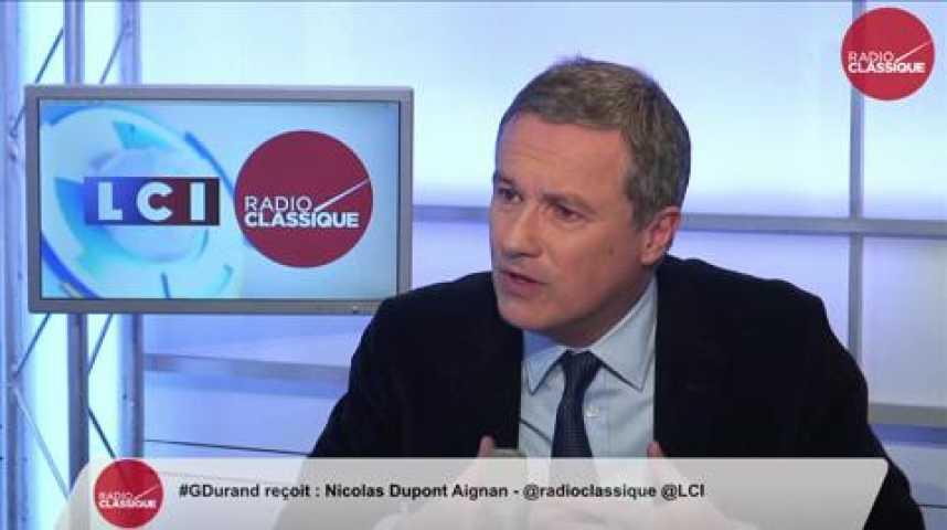 """Illustration pour la vidéo Nicolas Dupont-Aignan, """"Le gouvernement n'a pas les moyens suffisants pour mettre en œuvre une politique de sécurité complète"""""""