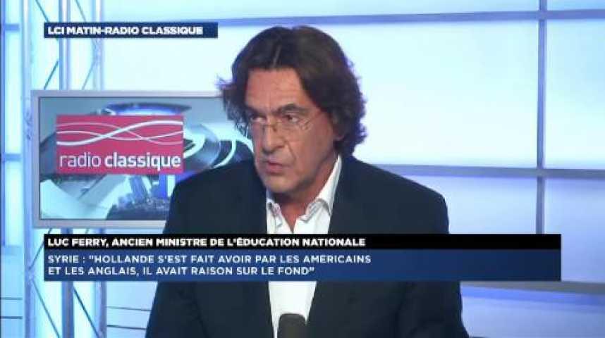 """Illustration pour la vidéo Luc Ferry : """"Hollande s'est fait avoir par Cameron et Obama sur la Syrie"""""""