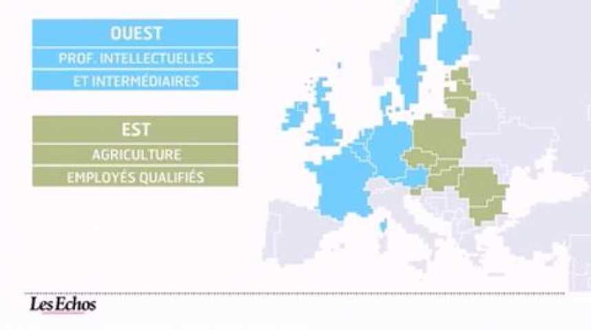 Illustration pour la vidéo L'infographie du jour : Emploi, l'Europe se transforme