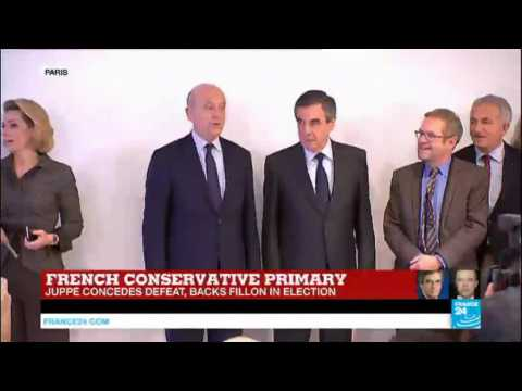 French Conservative primary: Nominee François Fillon & contender Alain Juppé address supporters, call for unity