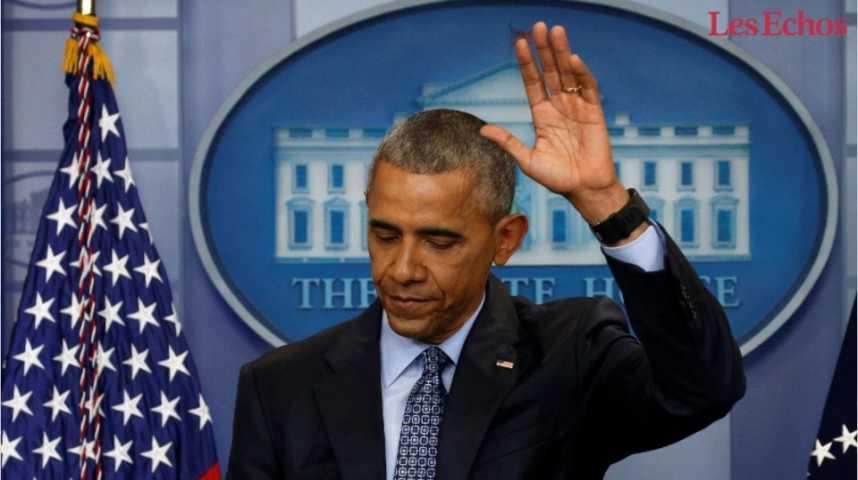 Illustration pour la vidéo Les derniers mots de Barack Obama à la presse