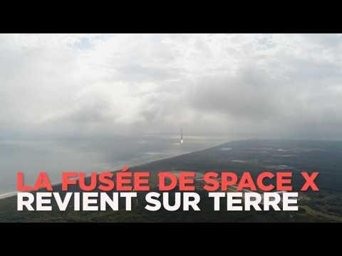 Le retour de la fusée de SpaceX filmé par un drone