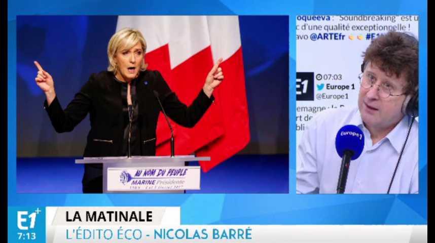 Illustration pour la vidéo Combien coûterait la sortie de l'Euro voulue par Marine Le Pen ?