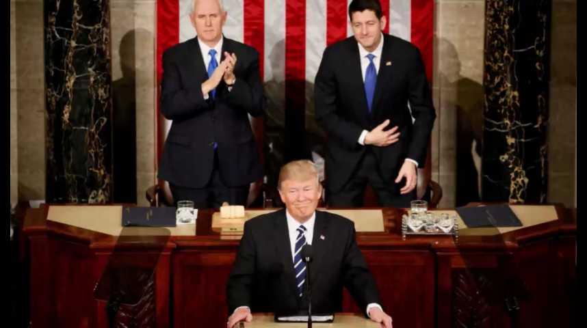Illustration pour la vidéo Devant le Congrès, Donald Trump endosse une stature plus présidentielle