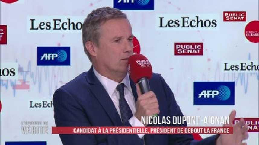 Illustration pour la vidéo Nicolas Dupont-Aignan : « Les politiques qui ont des casseroles ne devraient pas être candidats »