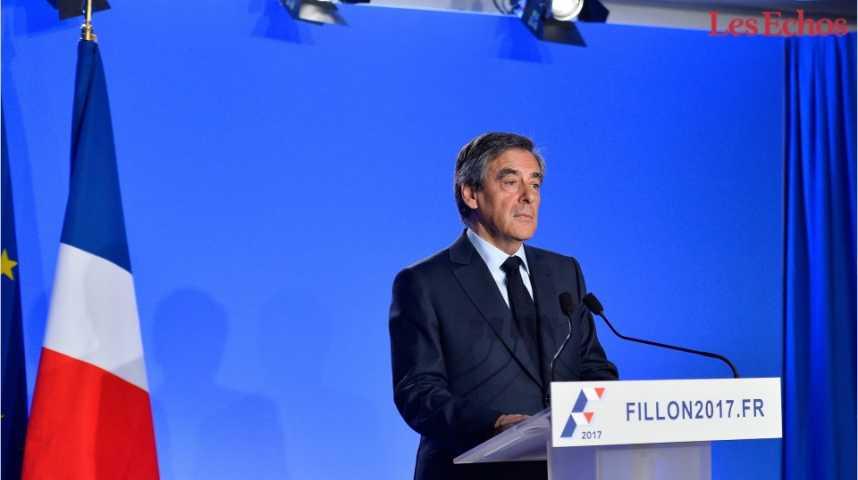 Illustration pour la vidéo Sondage : Fillon et Hamon en grande difficulté à sept semaines de la présidentielle