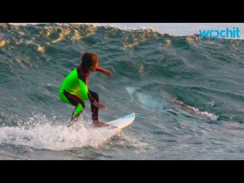 Young Surfer Rides Wave With Great White Shark in Australia